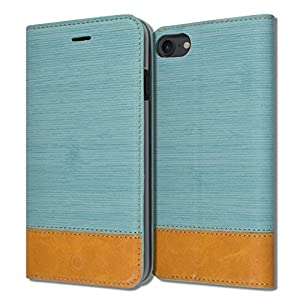iphone 8 / 7 [ ORBIT FLEX Series ] [ Slim Wallet Flip Cover ] Diary Book Leather ID Credit Card Wallet Standing Soft Ultra Slim Fit Textured Grip Kickstand Case Apple iphone 8 / 7 [4.7inch ] (Blue)