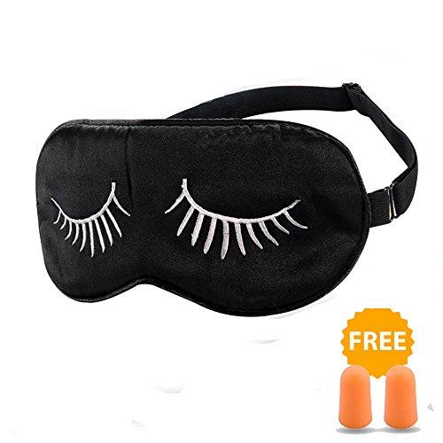 [HamFire Silk Sleep Mask Blindfold Eyeshade Eyelashes Style Breathable Soft Protect Eye Mask for Travelling, Sleeping, Relaxation, Spa, Daydream on Plane with Two Ear Plugs(White Eyelashes)] (Venetian Mask Points)