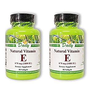 Daily Manufacturing -Natural Vitamin E 1000 IU |50 Capsules, 2 Pack