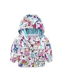 UWESPRING Girls Cartoon Graffiti Coats Birds Pattern Kids Bomber Jackets