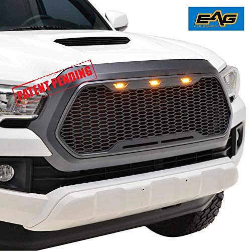 EAG Replacement Upper ABS Grille Front Full Grill with Amber LED Lights Charcoal Gray Fit for 16-18 Toyota Tacoma ()