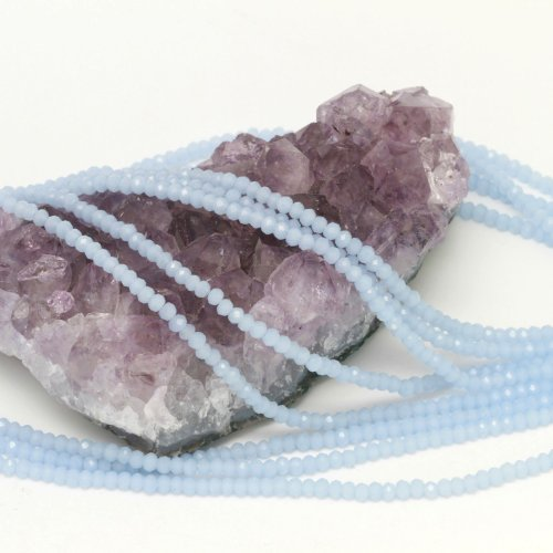 Crystal Chinese Round Faceted Beads (100 pcs 3x2mm Chinese Crystal Glass Beads Faceted Rondelle Baby Blue Agate)