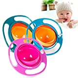 Ireav 1pcs Infant Baby Feeding Toy Bowl Dishes Kids Boy Girl Spill Proof Universal Rotate Technology Funny Gift Baby Accesories (Random Color)