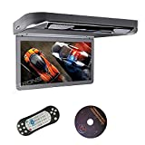 XTRONS Grey 13.3' HD 1080P Video Car MPV Roof Flip Down Slim Overhead DVD Player Wide Screen Ultra-Thin with HDMI Input