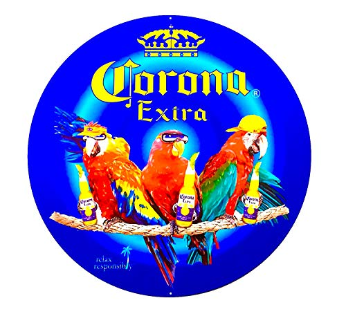 - Parrot Party Corona Beer Aluminum Sign - 24 inch Diameter