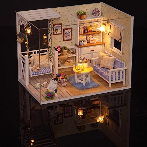 Ogrmar Wooden Dollhouse Miniatures DIY House Kit With Cover and Led Light-Cat Diary by Ogrmar (Image #5)