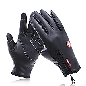 Godr Cycling Gloves - Waterproof Touchscreen Leather Gloves in Winter Outdoor Cycling Biking Windproof Gloves with Zip Adjustable Size work for iPhone 8, iPhone 7 and Smartphone (Medium)