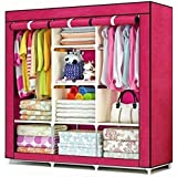 Anva Aventure Iron Fancy and Portable Foldable Almirah Wardrobe with 6 Cabinet and 2 Long Shelves Clothes Organizer (4.1ft, Multicolour)
