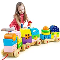 Eonkoo Fun Wooden Train Educational Toy Building Block set for Baby Kids Play...