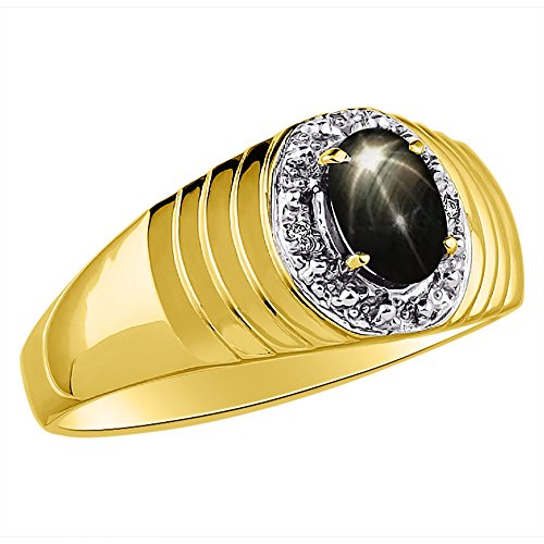 Genuine Diamond & Gorgeous Oval Black Star Sapphire Ring set in Yellow Gold Plated Silver by Rylos