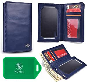 UNIVERSAL unisex BI FOLD WALLET/PHONE CASE W/TOUCH SCREEN IN BLUE FOR Samsung Galaxy Nexus I9250
