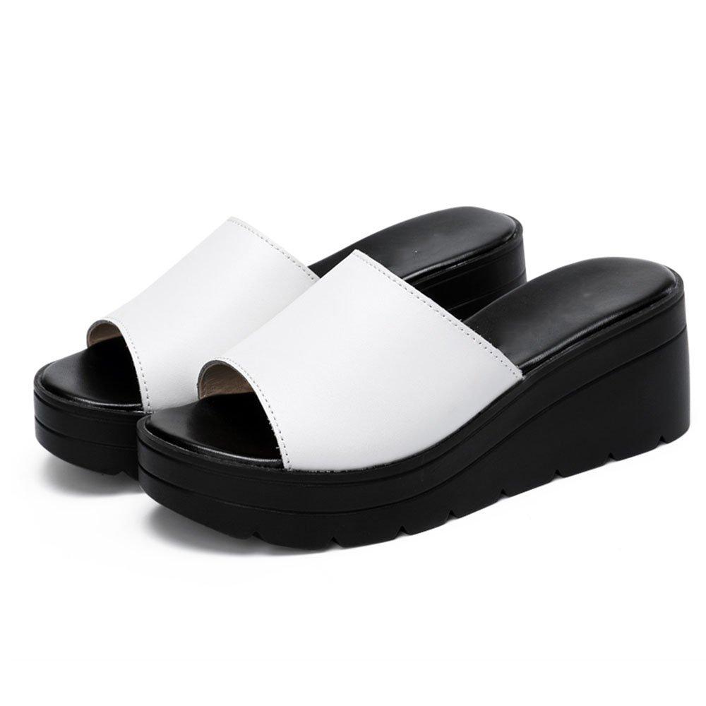 LVZAIXI Schuhe Frauen Hausschuhe Mode Damenschuhe Frauen Sommer dicker Slipper Hausschuhe hochhackigen Mode Hausschuhe Keile Sandalen (2 Farben erhältlich) (Größe verfügbar) gemütlich ( Farbe   Weiß , größe   EU