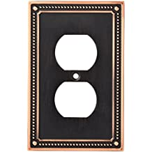 Franklin Brass W35059-VBC-C Classic Beaded single Duplex Outlet Wall Plate / Switch Plate / Cover, Bronze with Copper Highlights