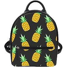 LedBack Pineapple Leather Backpack for Girls Black Mini Daypack Wallets Women