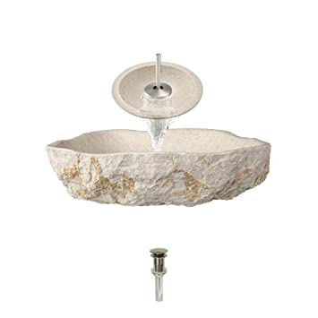 870 Galaga Beige Marble Vessel Sink Brushed Nickel Bathroom Ensemble