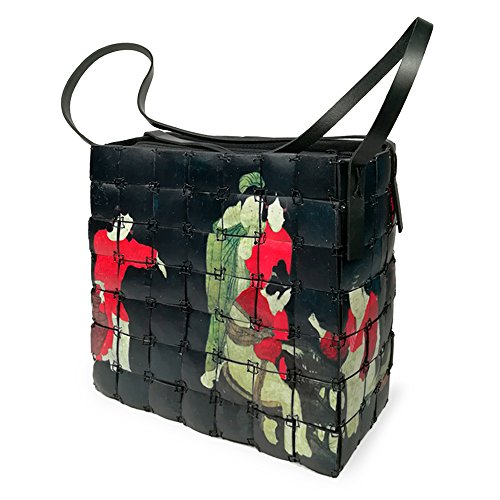 Handle Bag Women's with Top Bamboo Purse Handmade Closure Bag Ethnic Print in Style Oiental Shoulder Zip Black PxIrEwtI