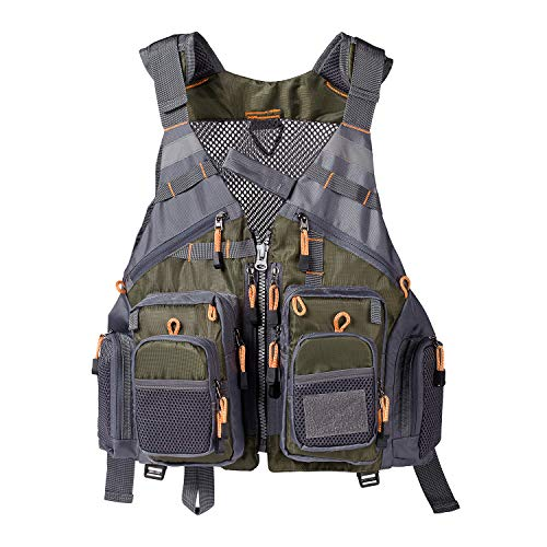 Lightbare Fly Fishing Vest for Men with Pockets for Trout Fishing Photography Army Green