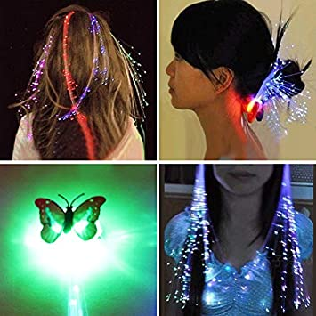 Shining Hair Braids Barrette LED Fiber Hairpin Clip Light Up Headband Glow*Party