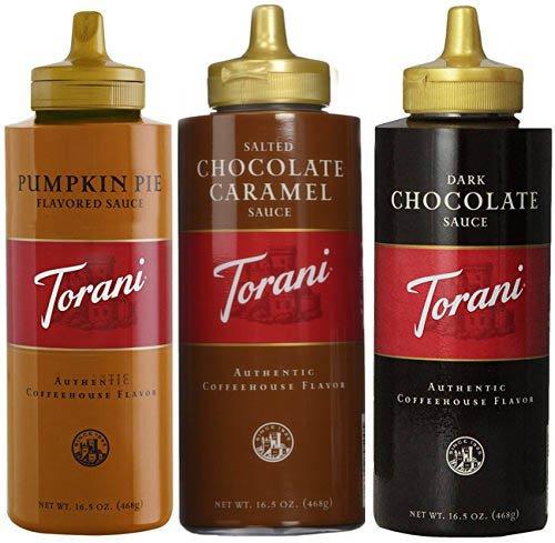 (Torani 16.5oz Seasonal 3-pack Sampler, Pumpkin Pie, Salted Chocolate Caramel & Chocolate Sauces)