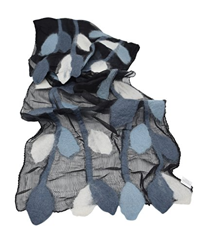 (Womens Fashion Long Shawl Lightweight Anytime Merino Wool Felted Silk Chiffon Leaf Pattern Design Scarf with Gift Bag (Black/White/Blue) )