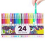 Glitter Gel Pens Colored Fine Tip Markers with 40% More Ink for Adult Coloring Books, Drawing, Bullet Journal, and Doodling (24 Colors): more info