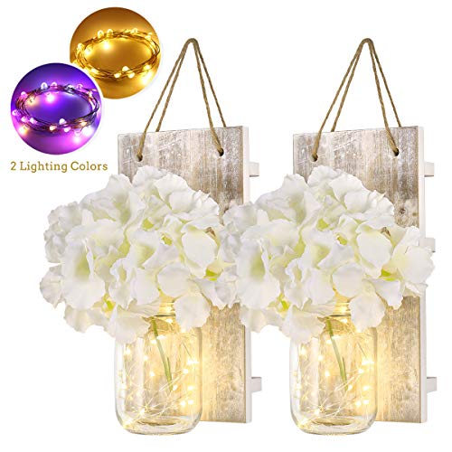 PartyKindom Wall Sconces Mason Jar Sconces Rustic Wall Decor Home Decoration with LED Fairy Lights Flowers Iron Hooks, Warm White and Multi Color (2 Pack)