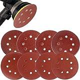Coceca 80PCS 5 Inch Sanding Discs Sandpaper Assorted 40 60 80 120 150 180 240 320 Grits For Power Random Orbit Sanders
