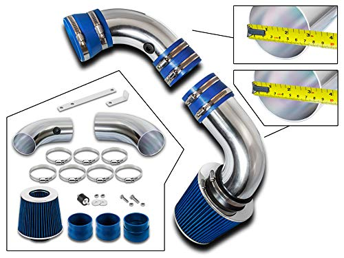 Rtunes Racing Cold Air Intake Kit + Filter Combo BLUE Compatible For 96-05 Chevy S10 / Blazer 4.3L / 96-05 GMC Sonoma/Jimmy 4.3L / 97-00 Isuzu Hombre / 96-01 Oldsmobile Bravada 4.3L ()