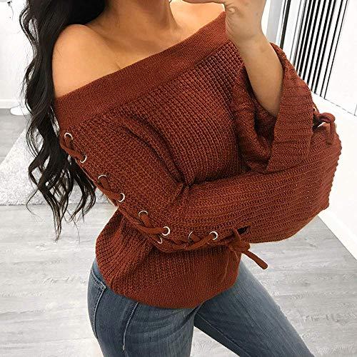 manches Une Femmes Blouse Eu Taille xl cn Zhrui Casual longues Tricots Pullover Tops Tuniques Sweatshirt Tricots épaule Mode 42 à Couleur Marron YwxBP