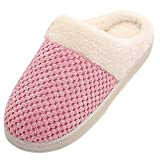 NUWFOR Women Warm Home Plush Soft Slippers Indoors Anti-slip Winter Floor Bedroom Shoes(Pink,8.5-9.5 M US)