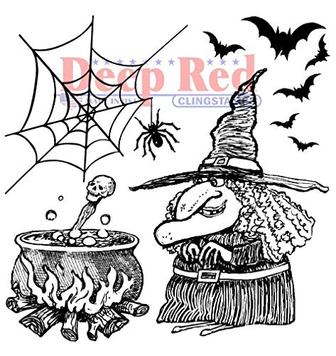 ShopForAllYou Stamping & Embossing Rubber Stamp Witches Brew Spiders Happy Halloween Potion Brewing Bats]()