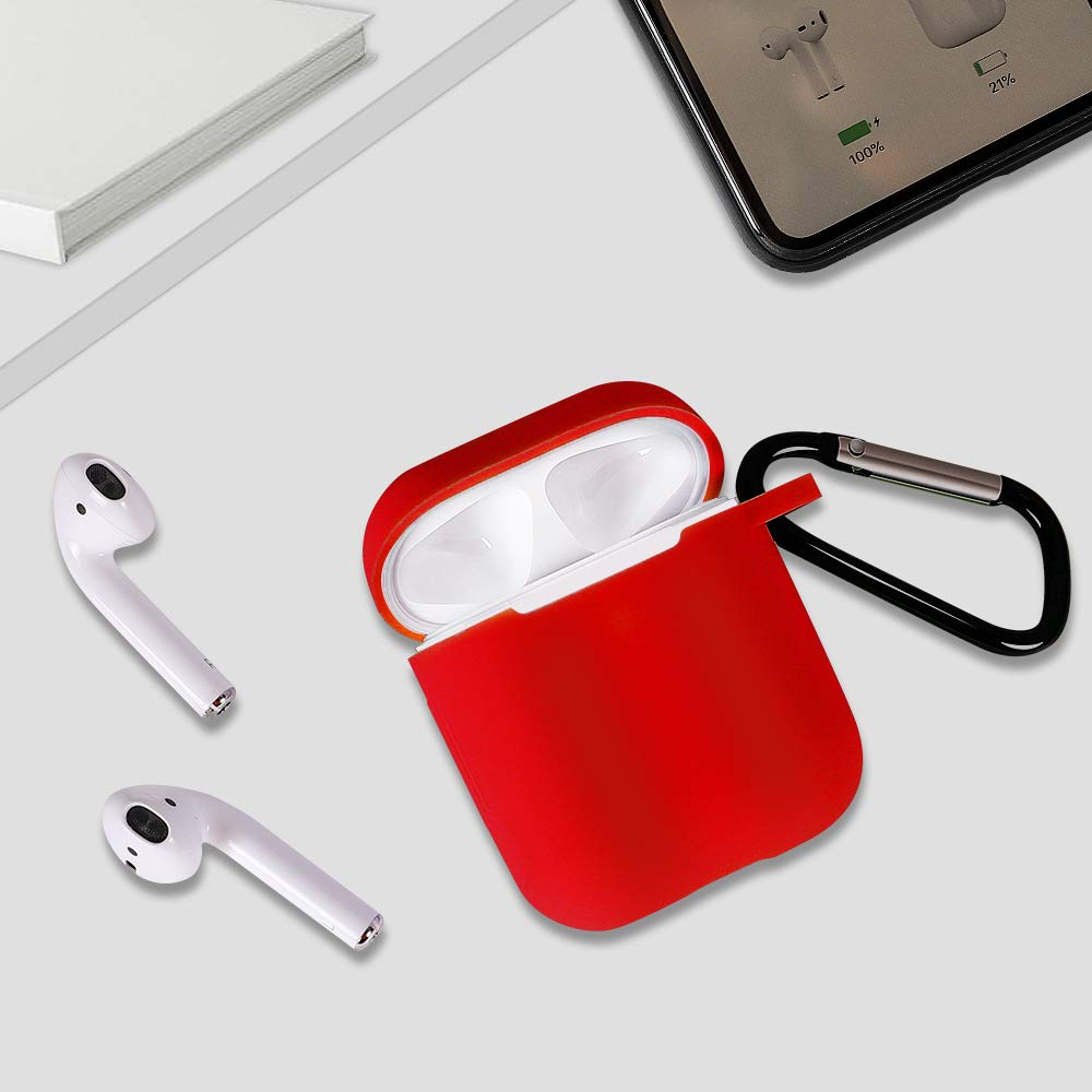 Airpods Case, (Front LED Visible) Upgrade Silicone Protective Shockproof Wireless Charging Airpods Earbuds Case Cover Skin with Keychain kit Set Compatible for Apple AirPods 1 & 2 2016-2019(Red)
