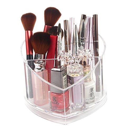 KINGZHUO Sweet Heart Shape Transparent PS Material Lipstick Nail Polish Makeup Brush Storage Box 4-Grid Multi-Function Cosmetic Organiser Perfect for Lipstick Makeup Tools Best Gift for Your GF Wi