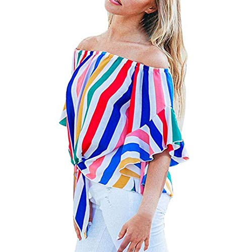Clearance Women Shirt LuluZanm Striped Off Shoulder Short Sleeve Waist Tie Blouse Casual T Shirts Tops ()