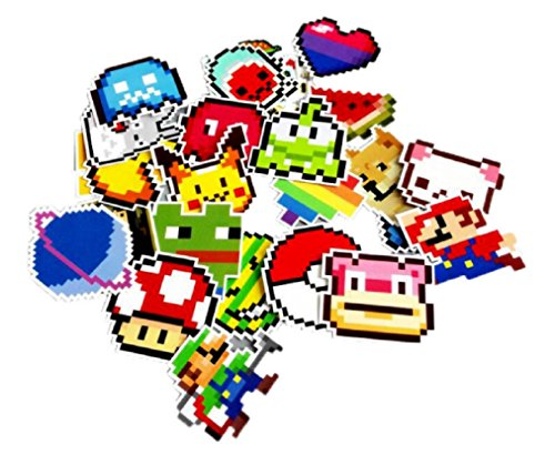 Super Mario & Characters Pixel Stickers Assorted Lot of 25 Pieces ()