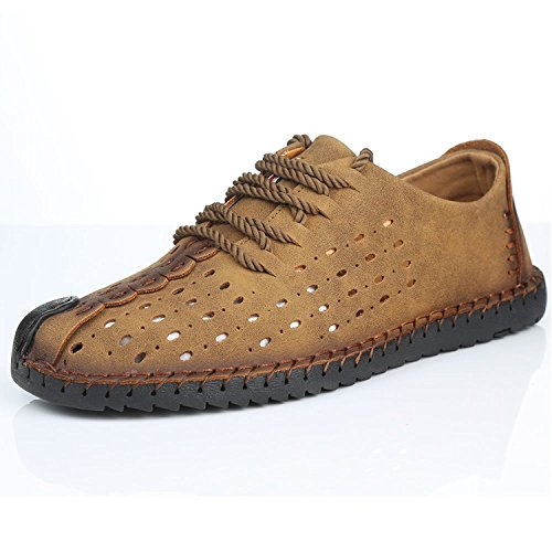 Genuine on Slip Breathable Boat Out Loafers Moccasins Khaki Driving Leather Flats Sorliva Hollow Casual Shoes Mens q8OO0X