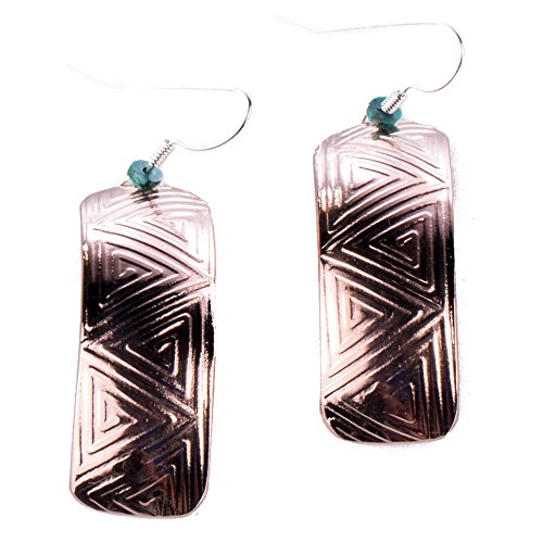 TSKIES Navajo Copper tribal pattern curved Earrings turquoise bead Native American Jewelry