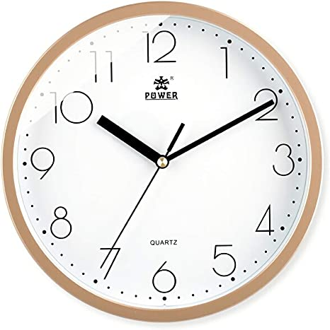 10 Inches Non-Ticking Quartz Wall Clock with Battery Operated Big Number HD Glass Attoe Silent Retro Wall Clock White Decorative for Home//Kitchen//Living Room//Bedroom//Office//School