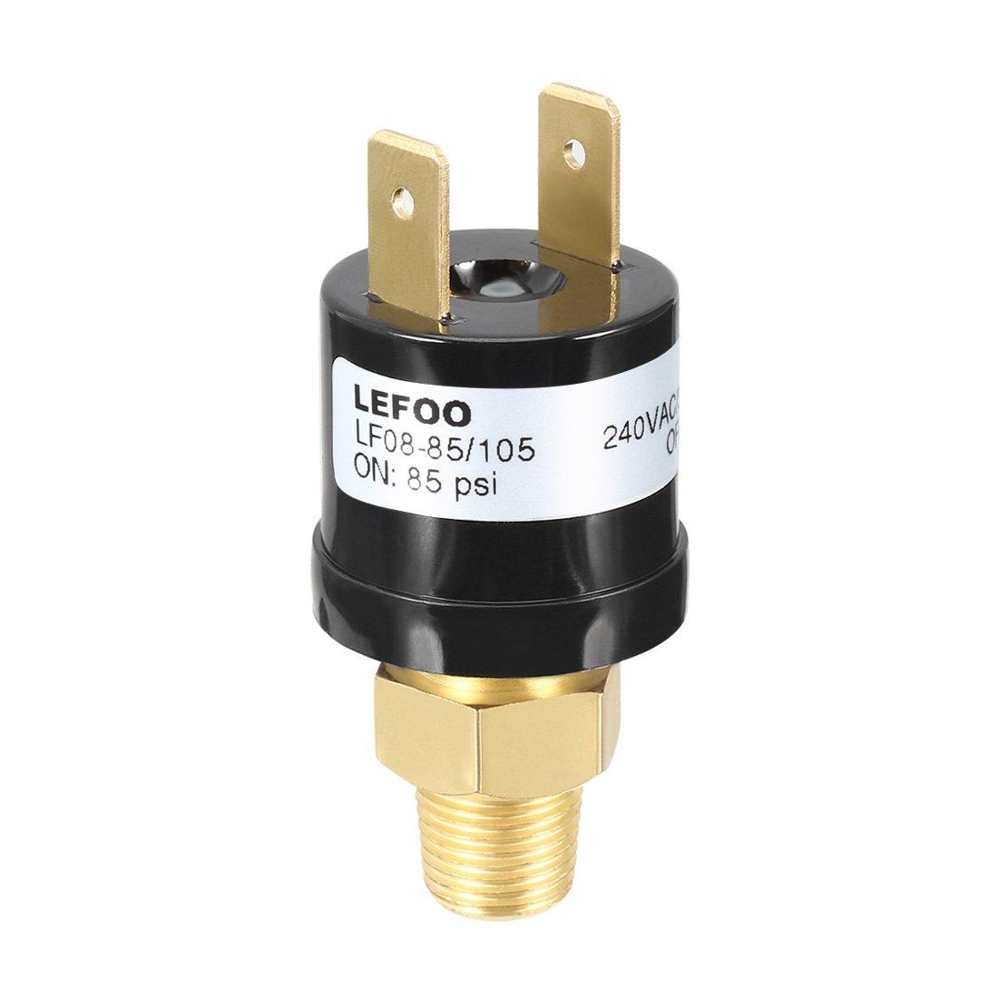 sourcingmap AC240V 3A SPST NC Compressore Aria Pressione interruttore controllo 85/105 psi 2 terminale sourcing map a17061300ux0085