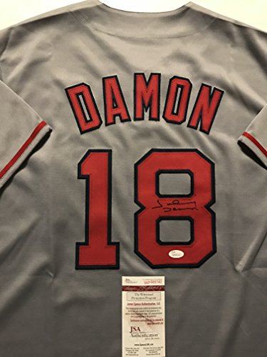 Damon Autographed Baseball Johnny (Autographed/Signed Johnny Damon Boston Grey Baseball Jersey JSA COA)