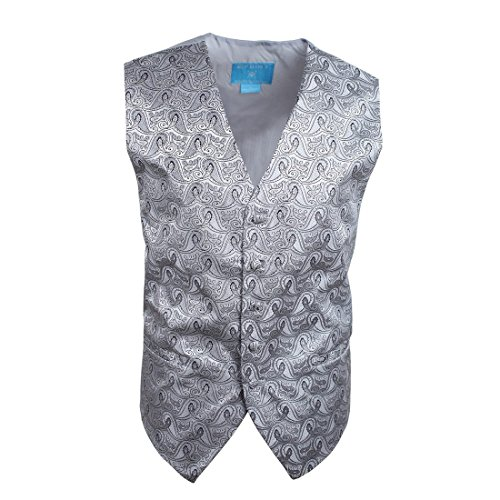 EGC1B08E-M Silver Patterned Luxury World Wide Waistcoat Woven Microfiber Handmade Fabric Medium Vest By Epoint