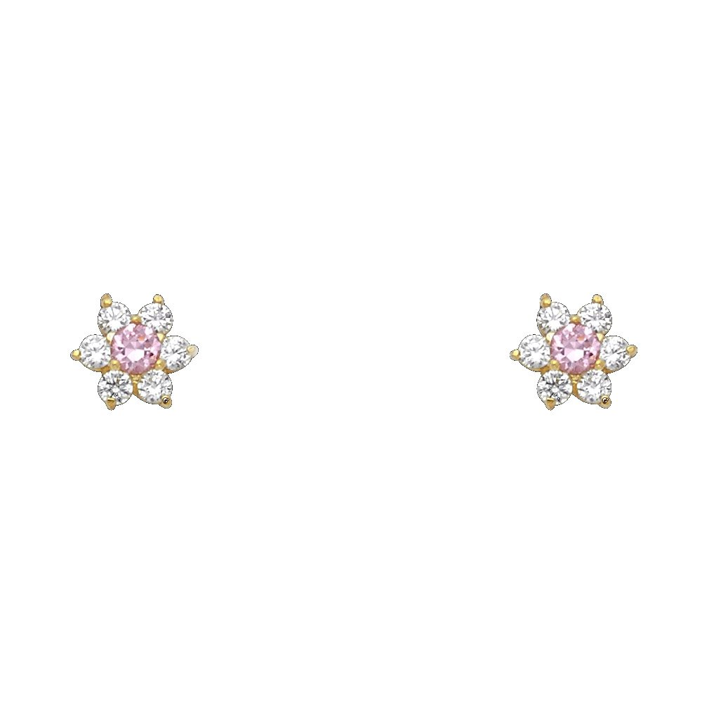 October Wellingsale 14K Yellow Gold Polished Flower Birth CZ Cubic Zirconia Stone Stud Earrings With Screw Back
