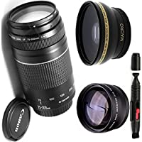 Canon 75-300mm III Zoom Lens + High Definition Wide Angle Auxiliary Lens + High Definition Telephoto Auxiliary Lens + Deluxe Lens Cleaning Pen