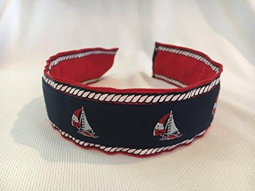 (Wide Headband, Ribbon Headband, Girls Headband, Womens Headband, Sailboat Headband, Nautical Headband)