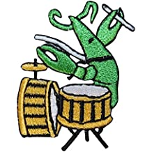 ID 1714D Lobster Playing Drum Patch Music Band Embroidered Iron On Applique