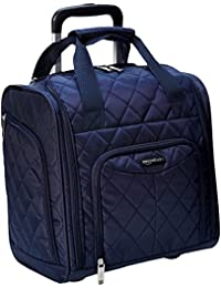 Underseat Carry-On Rolling Travel Luggage Bag, 14 Inches, Navy Blue Quilted