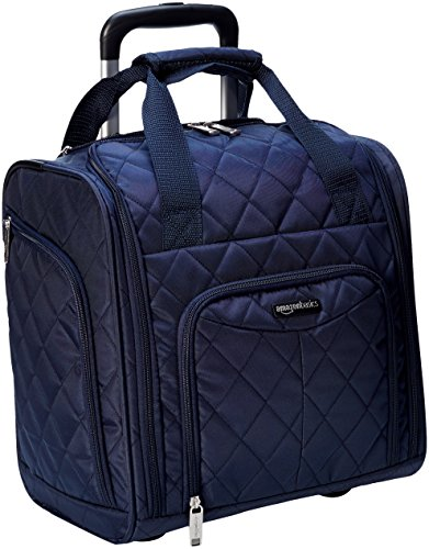 AmazonBasics Underseat Carry On Rolling Travel Luggage Bag - Navy Blue Quilted