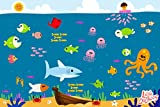 Underwater Disposable Placemats Topper for Table 60 Mats for Children Kids Toddlers Baby perfect use as Restaurants Place mats BPA Free Eco Friendly Sticks to Table Avoid Germs Fun Keep Neat Now!