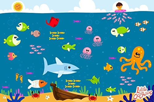 Underwater Disposable Placemats Topper for Table 60 Mats for Children Kids Toddlers Baby perfect use as Restaurants Place mats BPA Free Eco Friendly Sticks to Table Avoid Germs Fun Keep -