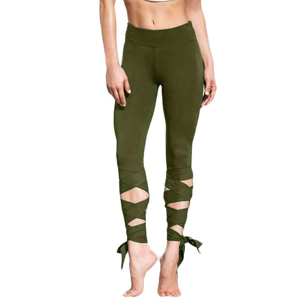 ✅Zalanala Women Legging Cutout Tie Cuff Slim Yoga Pants Jogger Solid Color Workout Tights (S, Army Green)
